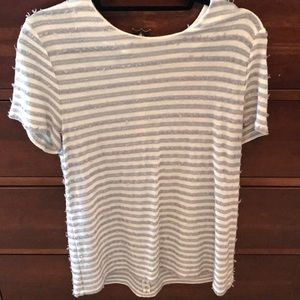 Talbots blouse XL white and gray
